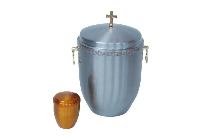 Urna metalowa, lakierowana z relikwiarzem